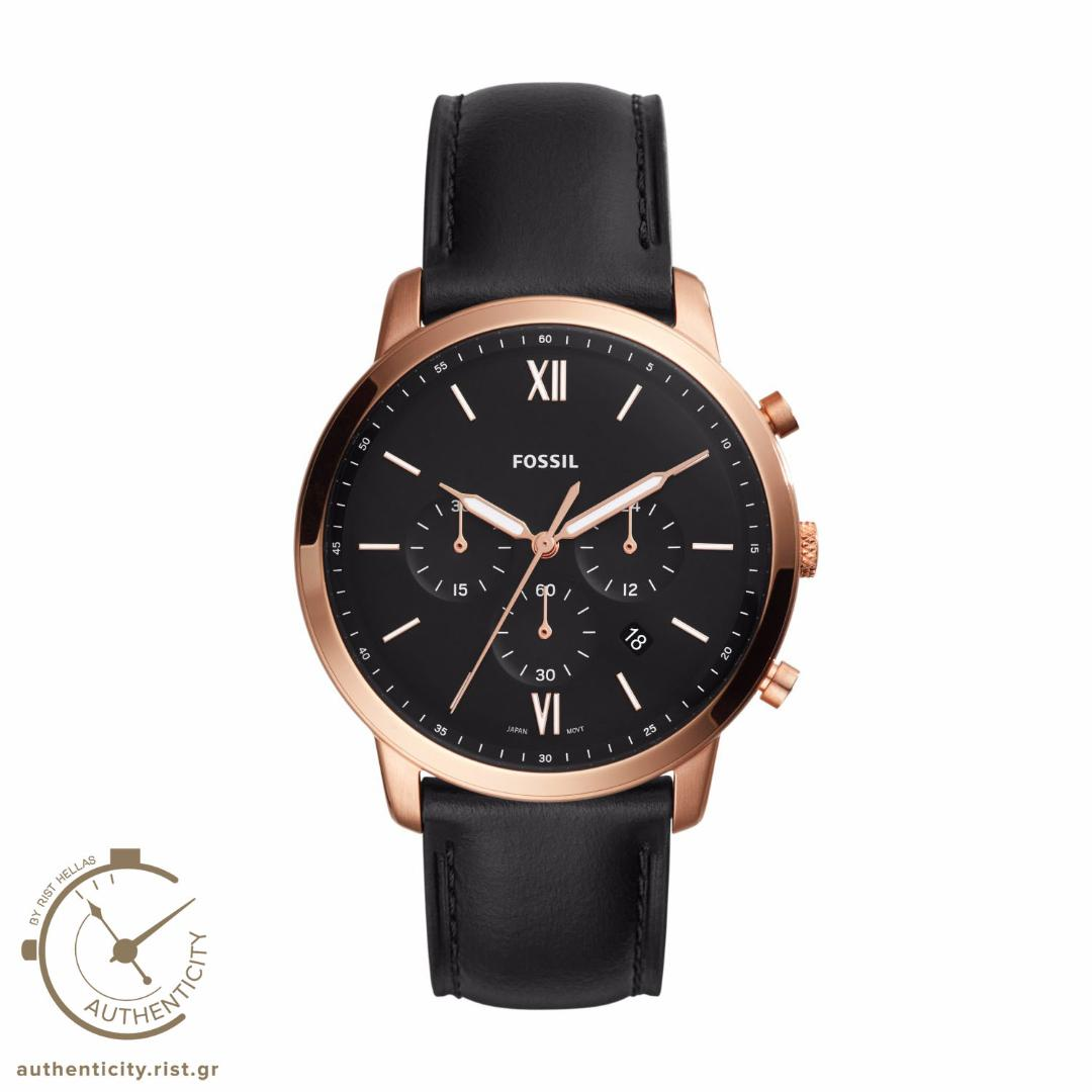 FOSSIL Neutra Rose Gold Black Leather Chronograth
