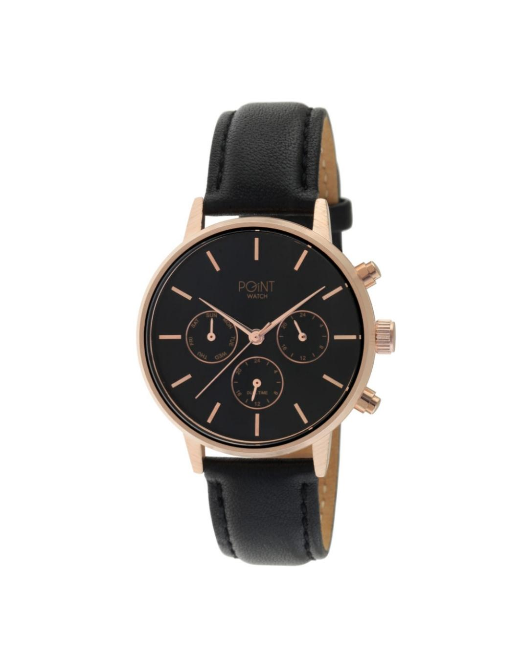 Γυναικείο Ρολόι Point Aphrodite Black Leather Strap SK39.