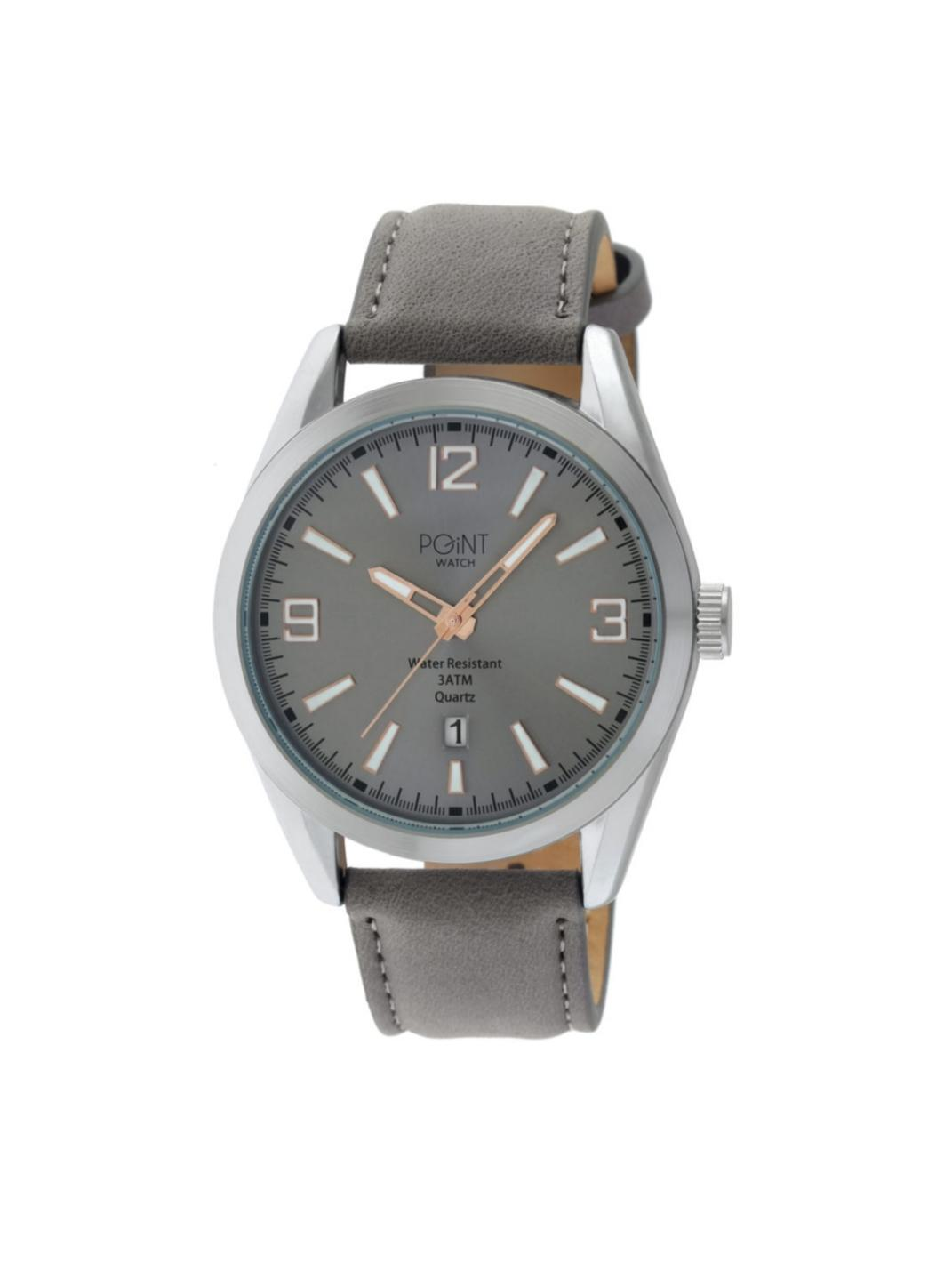 Ανδρικό Ρολόι Point Olympus Grey Leather Strap SK33.
