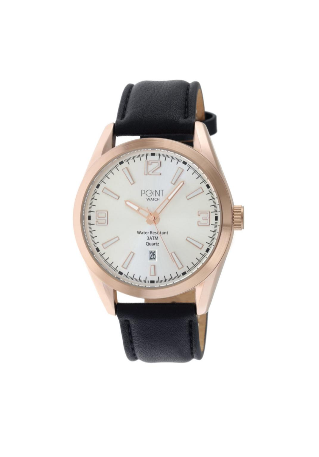 Ανδρικό Ρολόι Point Olympus Black Leather Strap SK32.