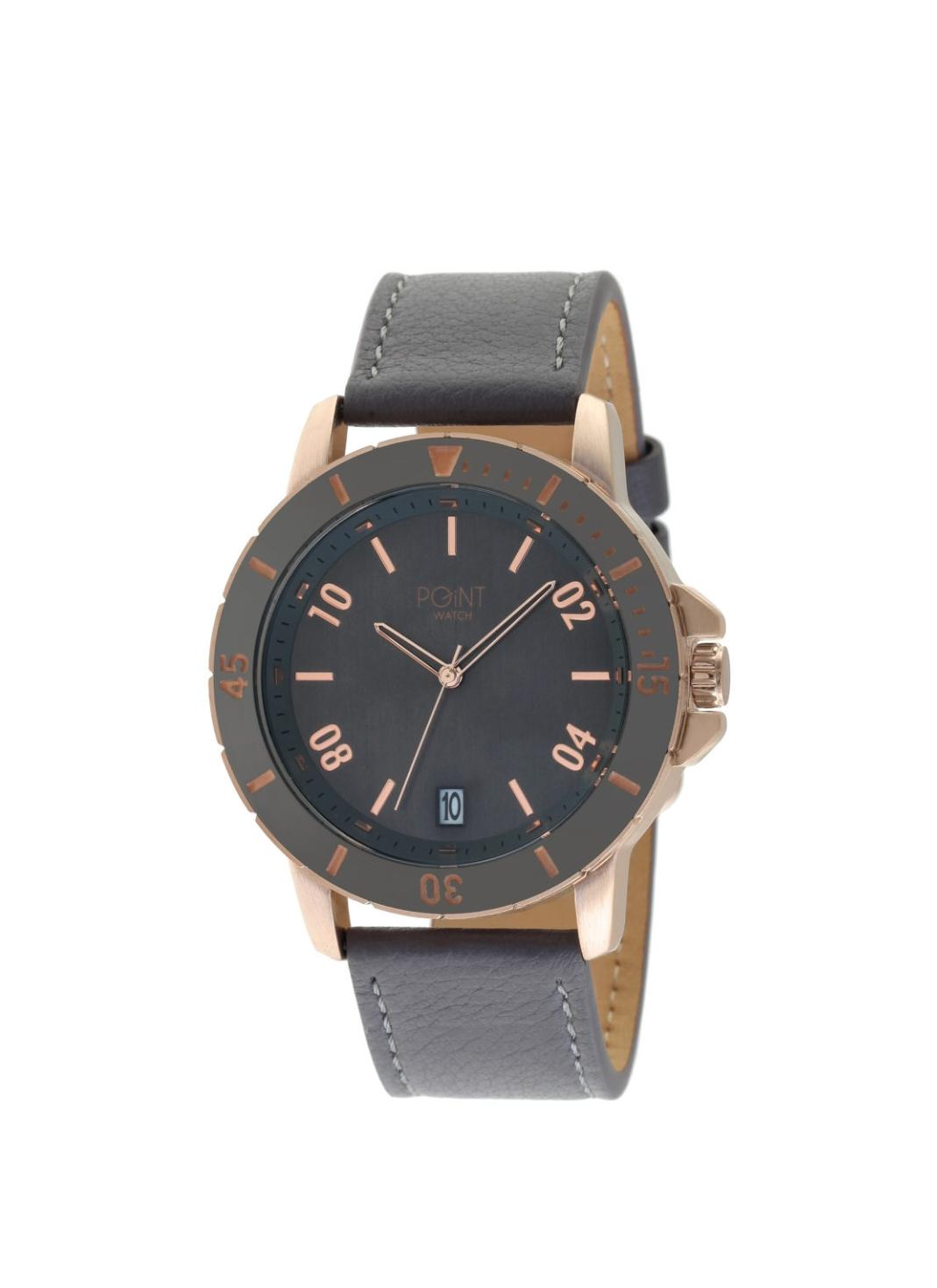 Ανδρικό Ρολόι Point Mars Grey Leather Strap SK9.