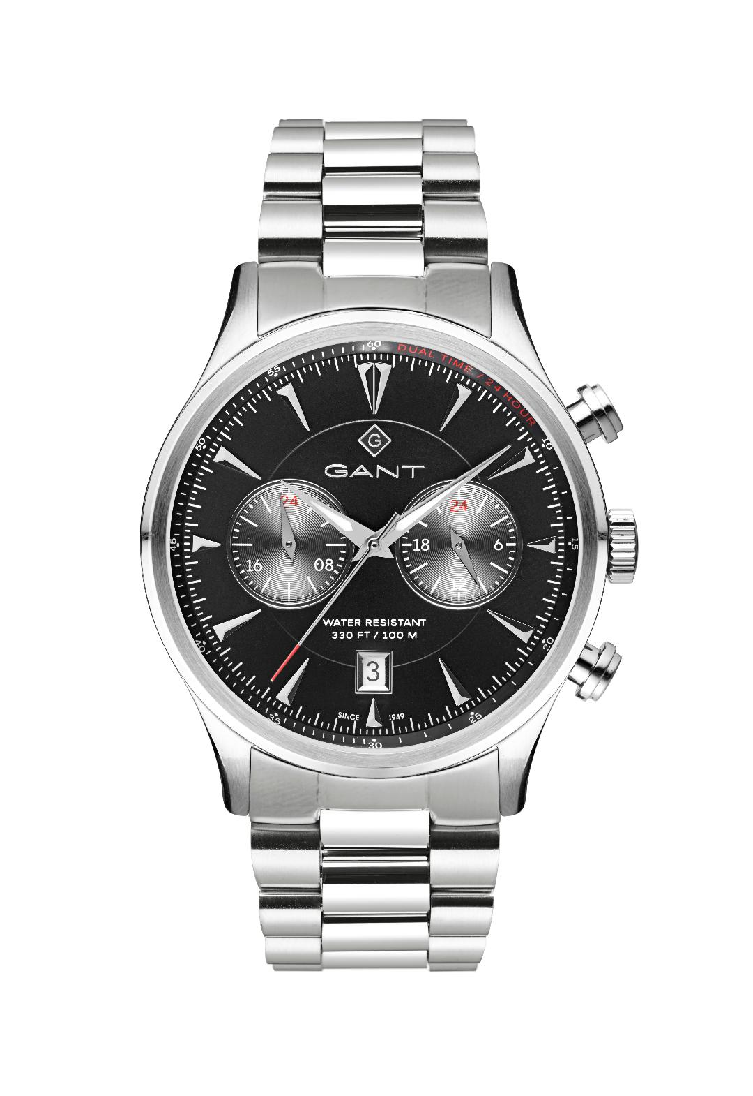 Ανδρικό Ρολόι GANT Spencer Dual Time Silver Stainless Steel Bracelet.