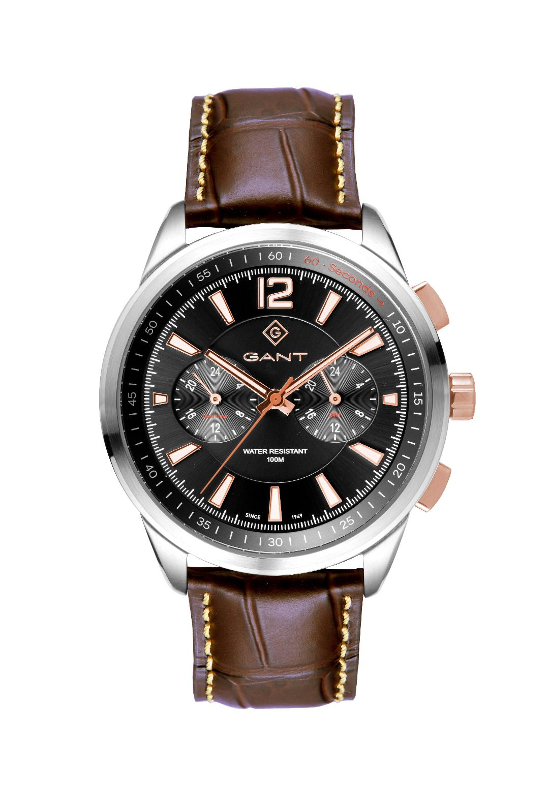 Ανδρικό Ρολόι GANT Walworth Dual Time Multifunction Silver Stainless Steel Leather Strap.
