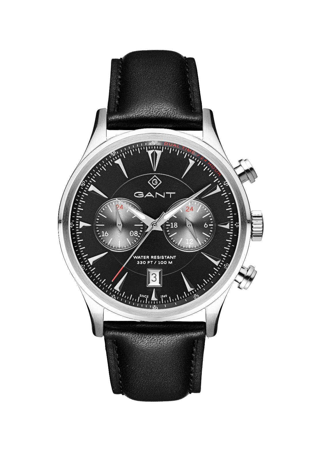 Ανδρικό Ρολόι GANT Spencer Black Leather Chronograph.