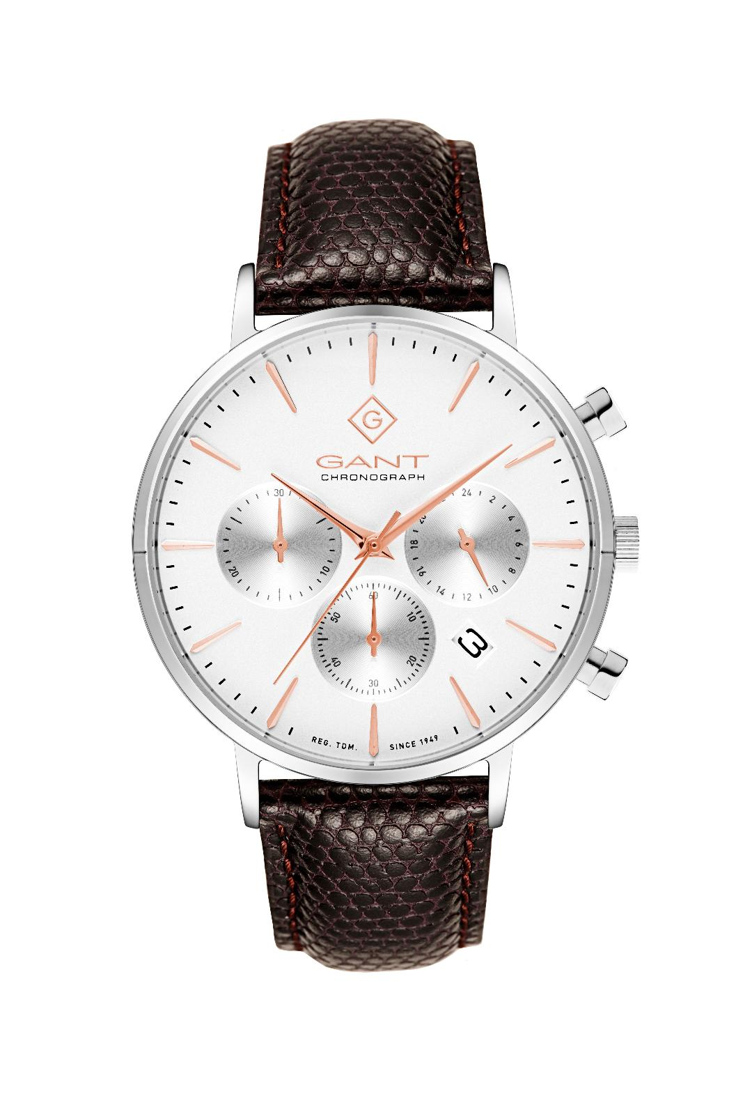 Ανδρικό Ρολόι GANT Avenue Brown Leather Chronograph.