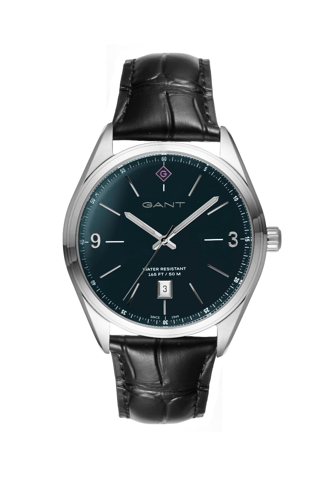 Ανδρικό Ρολόι GANT Crestwood Stainless Steel Black Leather Strap.
